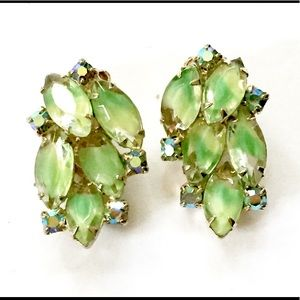 JULIANA Rhinestone Green Art Glass Earrings